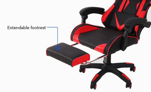 When you want to relax while playing your favorite game, you can simply pull out this chair's footrest and kick your feet up.
